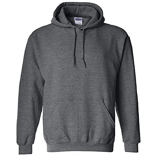 Gildan Men's Fleece Hooded Sweatshirt, Style G18500, Dark Heather, Large