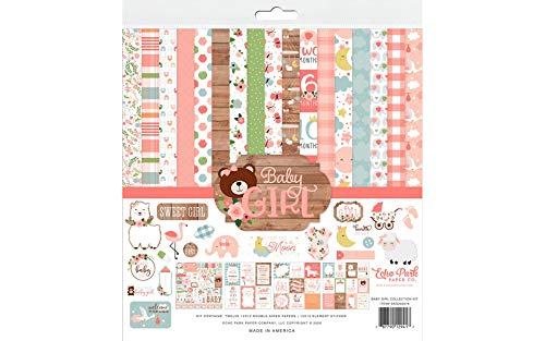 Echo Park Paper Company BAG202016 Baby Girl Collection Kit Papier, Pink, Gelb, Grün, Blau, 12-x-12-Inch