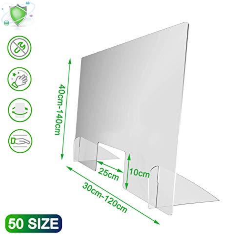 Aiyaoo Hustenschutz Verkaufstheke, Spuckschutz Glas, Spuckschutz Buffet, mit Durchreiche kompakt leicht geeignet für Tischaufsatz, 100x120cm(BxH)