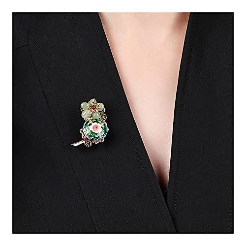 RKL Broches Y Alfileres Chinos Vintage para Madre, Broche De Flores Verdes, Joyería para Mujer, Traje, Chaqueta, Suéter, Bufanda, Sombrero, Accesorios 2021 (Color : Green, tamaño : 3.6x2.1CM)