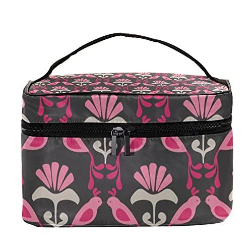Hermoso pájaro floral colorido 8.9x5.9x5.4ini 22.5x15x13.8cm bolsa de lavado cosmético organizador bolsa multifuncional para las mujeres