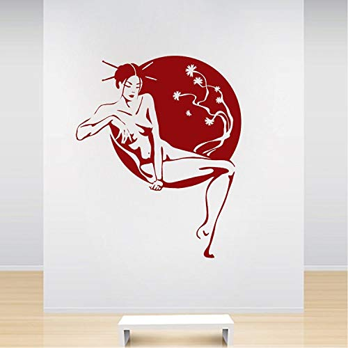 QQCYWZK Asian Lounge Wandtattoo Wohnzimmer Home Decor Schöne Frauen Wandaufkleber Schlafzimmer Schönheit Salon Wandfenster Dekoration 51x42cm