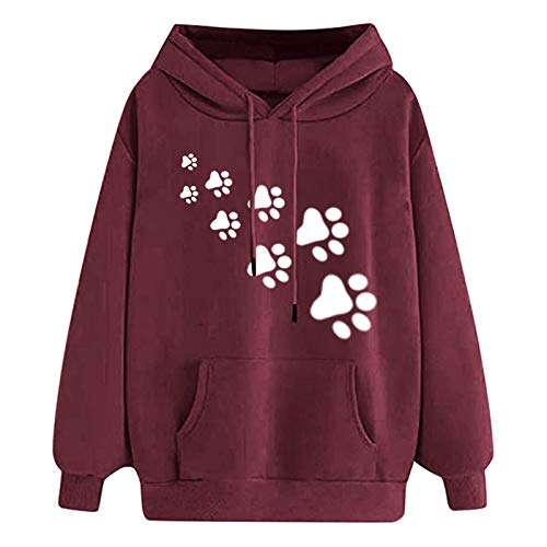 SOMESUN Damen Sweatshirt, Casual Einfarbig Katzendruck Landschaft Hoodie Langarmshirt...