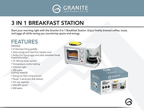 Granite Platinum Deluxe Portable 3-in-1 Family Size Multifunctional Breakfast Station