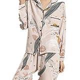 Verano Otoño Señoras Pijamas Conjunto Floral Impreso Completo De Algodón Estilo Fresco Ropa De Dormir Mujeres De Turn-Down Collar Femenino Casual Homewear