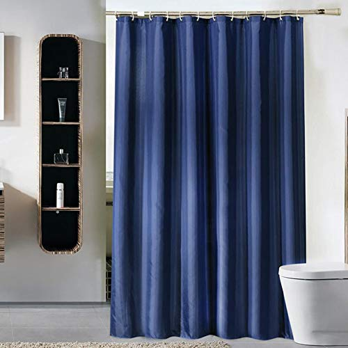 YWXWY Thickened Fabric Solid Color Shower Curtain with Hooks Decorative Bathroom Waterproof Curtains 72' x 72' (Navy Blue)