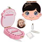 Caja de dientes para bebés,Caja de Almacenamiento de Dientes,Dientes de Leche Souvenir Caja (Chica de lado de color)