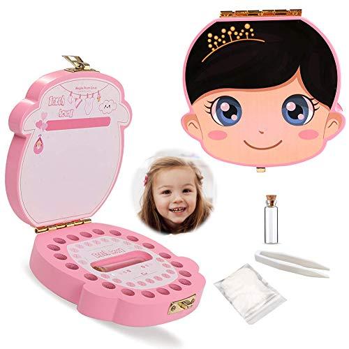 Zahnbox aus Holz,Milchzähne Box, Zahndose für Milchzähne, Milchzahndose, Zahndöschen für Kinder, Milchzahnbox, Zahnschachtel, Zahnbox für Geschenk (Farbe weiblich B)