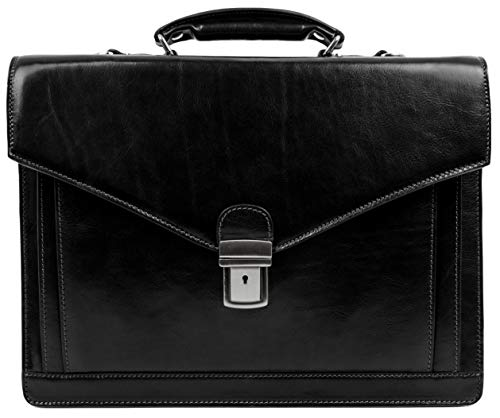 Time Resistance Full Grain Leather Briefcase Hand-Crafted Business Attache Shoulder Bag for Men Holds Laptop up to 15 Inch Black
