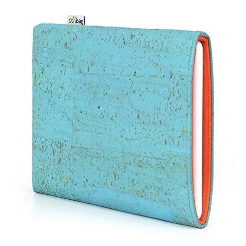 stilbag eReader Hülle VIGO für Icarus Illumina XL6 | eBook Reader Tasche - Made in Germany | Kork eisblau, Wollfilz orange