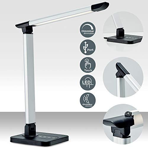 LED Schreibtischlampe 7W | dimmbare Tischlampe mit USB-Port | inkl. LED-Leuchtmodul mit Memory-Funktion | 11 Helligkeitsstufen | 3 Farbtemperaturen | Touch Control | 500lm | schwarz