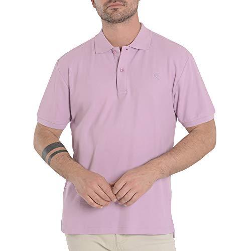 El Búho Nocturno - Polo Classique pour Homme | Polo Sport Golf, Tennis, Paddle - Lisse, sans Poche - Taille L - Violet