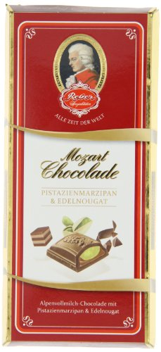 Reber Constanze Mozart-Chocolade, Alpenmilch-Schokolade, Pistazien-Marzipan, Haselnuss-Nougat, Tolles Geschenk, 5 x 100 g Tafeln
