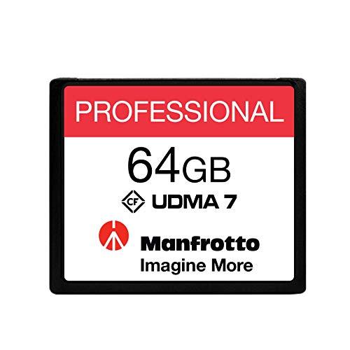 Manfrotto Tarjeta de Memoria Compact Flash Profesional de 64GB, UDMA 7, 160 MB/s Lectura, 130 MB/s Escritura, para Cámaras Profesionales, para Vídeos y Fotografías