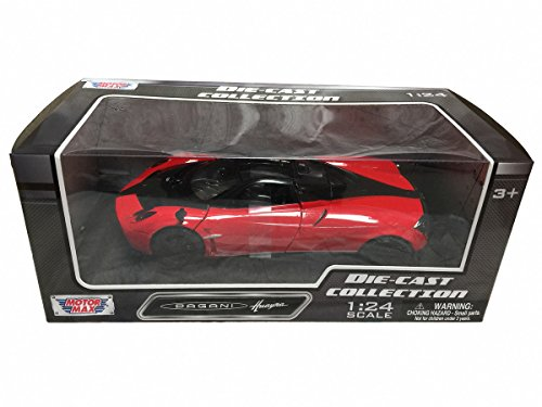 Motormax Pagani Huayra Red with Black Wheels 1/24 Diecast Model Car (79312CRD)