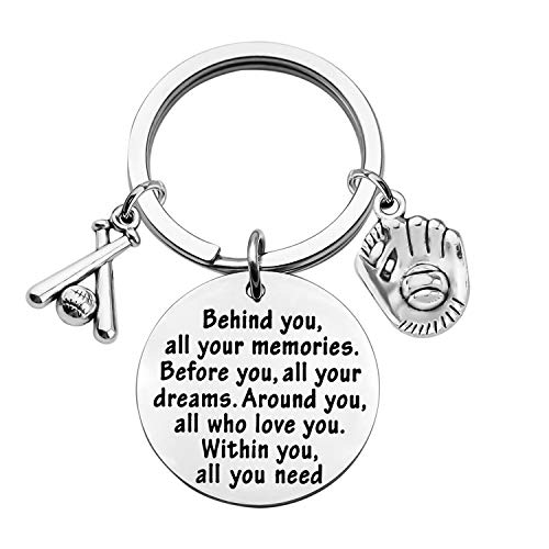 FEELMEM Baseball Keychain Baseball Player Gift Behind You All Memories Before You All Your Dream Keychain Softball Baseball Jewelry Baseball Mom Gift (Baseball Keychain)