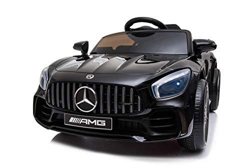 Tecnobike Shop Auto Macchina Elettrica per Bambini Mercedes GTR GT-R AMG 12V - Small Luci LED Suoni Mp3 Telecomando (Nero)