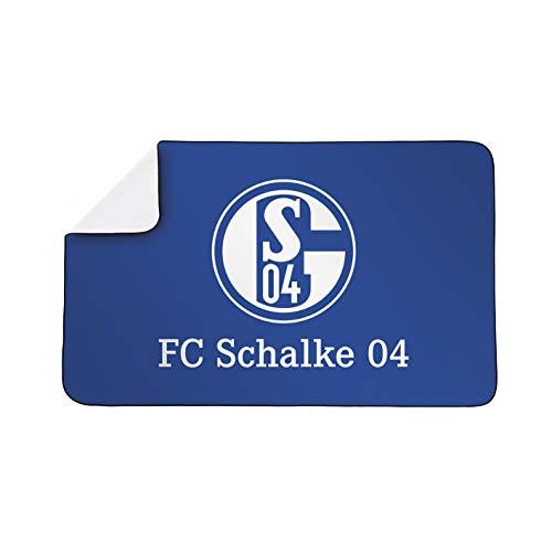Schalke 04 Sporthandtuch Deluxe | Badehandtuch aus saugfähigem Mikrofaser-Material | Für sie & ihn, Groß & Klein | 80x130 cm [weiß/blau]