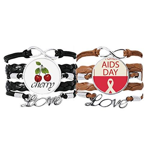 Bestchong Pulsera de cuero con símbolo mundial del 1 de diciembre con cinta roja y correa de mano