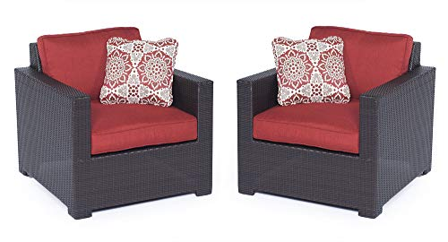 Hanover METMN2PC-B-RED Metro Mini 2-pc Set: 2 Deep-Seating Arm Chairs Cushions Frames Outdoor Furniture, Brown/Red