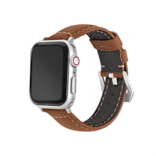 Correa de cuero para Apple Watch Band 44mm 40mm Series 6 5 4 3 2 1 Piel de vaca hecha a mano para IWatch Band 38mm 42mm Pulsera de repuesto-Marrón, 44mm Para Serie 45