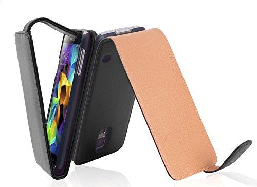 Cadorabo Custodia per Samsung Galaxy S5 / S5 Neo in Nero Carbone - Protezione in Stile Flip di Similpelle Fine - Case Cover Wallet Book Etui