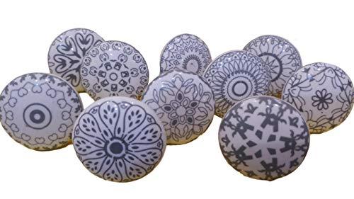 Pomelli per armadio, cassetto, in ceramica, dipinti a mano, 10 pezzi, colore: grigio e bianco