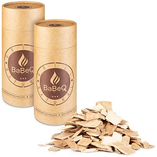BaBeQ Premium Räucherchips Hickory Natur-Holz für schnelles und intensives Raucharoma - geeignet für Smoker, Kohlegrill, Elektrogrill und Gasgrill - 1000g Smoker-Holz-Set inkl. Dosierungstubes