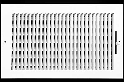 """14"""" X 8"""" 1-Way AIR Supply Grille - Vent Cover & Diffuser - Flat Stamped Face - White [Outer Dimensions: 15.75""""w X 9.75""""h]"""