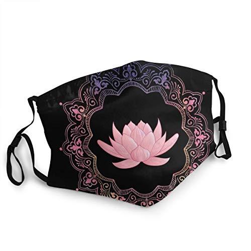 Mundschutz für Erwachsene, rosa, Lotus, Mandala, Yoga, Meditation, verstellbare Gesichtsabdeckungen für Damen und Herren