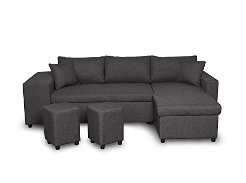 Canapé d'angle 3 places Noir Tissu Moderne Grand