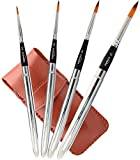 Travel Art Paint Brushes 4 Piece Professional Pocket Sized Travel Brushes for Painting On The Go, Synthetic Red Sable Round Hair Short Handle for Acrylic Watercolor Oil Painting by Topmaya