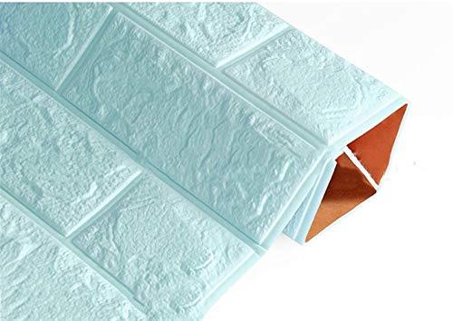 Behang 3D Baksteen Muurstickers Overleven Waterdichte Schuim Kamer Slaapkamer DIY Zelfklevende Behang Art 60 * 30 * 0,8 Cm Huis Muurstickers behang pasta 60x30 cm Lichtblauw