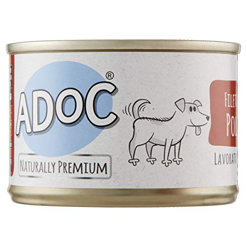 Adoc - Cibo Umido per Cani Adulti con Ingredienti Naturali Filetti di Pollo - 24 lattine da 170gr