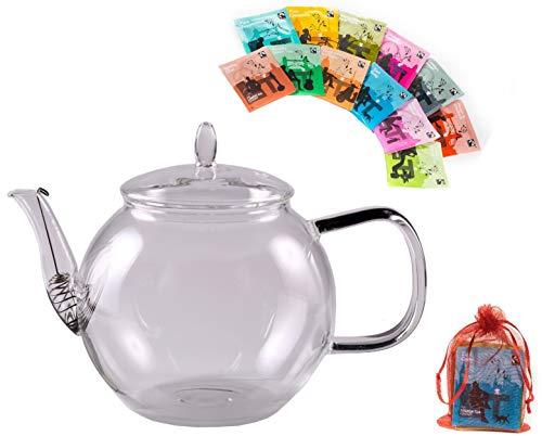 "TEE GESCHENKSET: 800ML TEEKANNE + 12x TEEBEUTEL - Tee-Set best. aus: 1x 800ml Teekanne m. Sieb im Auslauf + 12 versch. Teebeutel der Marke ""The London Tea Company"" by Feelino"