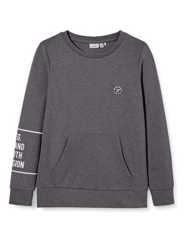NAME IT Jungen NKMRAP LS SWEAT UNB Sweatshirt, Black, 122-128
