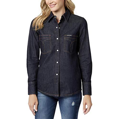 Calvin Klein Damen Long Sleeve Denim Shirt Hemd, Omega Easy, Klein