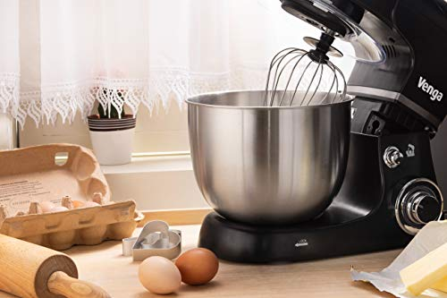 Venga! VG M 3014 Küchenmaschine mit Rührschüssel – 1000W Motor, Kunststoff, Edelstahl, 5L, Schwarz - 6