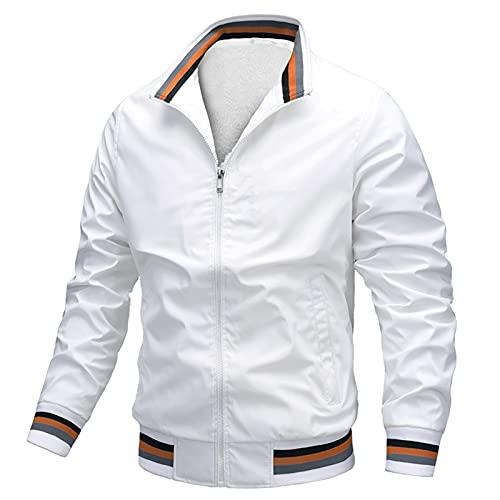 AIEOE - Chaqueta Acolchado Fino para Hombre Bombers Jacket Manga Larga sin Capucha Outwear for Man para Otoño Primavera - Blanco