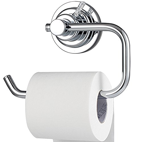 BOPai Modern Vacuum Suction Cup Toilet Paper Holder,Removable Bracket