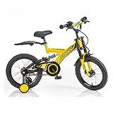 Vélos enfants Étudiant VTT Garçon Poussette 14 Pouces 16 Pouces Vélo Double Choc Beau Cadeau (Color : Yellow, Size : 16inch(110cm*40cm*80cm))