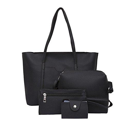 SUNNSEAN Tasche,Frauen Vier Sätze Rucksack Handtasche Schultertasche Vier Stücke Einkaufstasche Crossbody Ledertasche für Mädchen Elegant Daypacks Leder Daypacks (Schwarz 1)