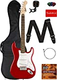Fender Squier Bullet Stratocaster SSS Electric Guitar Bundle w/Gig Bag, Clip-on Tuner, Strap, Strings, Picks, and Austin Bazaar Instruction DVD - Limited-Edition Dakota Red