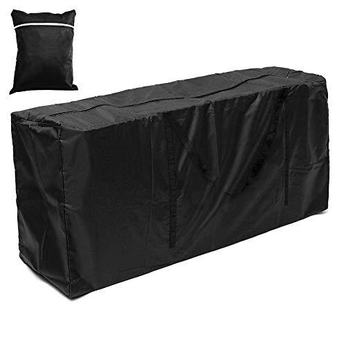 Housse de coussin de rangement en tissu Oxford 210D imperméable et imperméable pour meubles de jardin, housse de coussin rectangulaire avec fermeture éclair pour sapin de Noël (Noir, 173 x 76 x 51 cm)