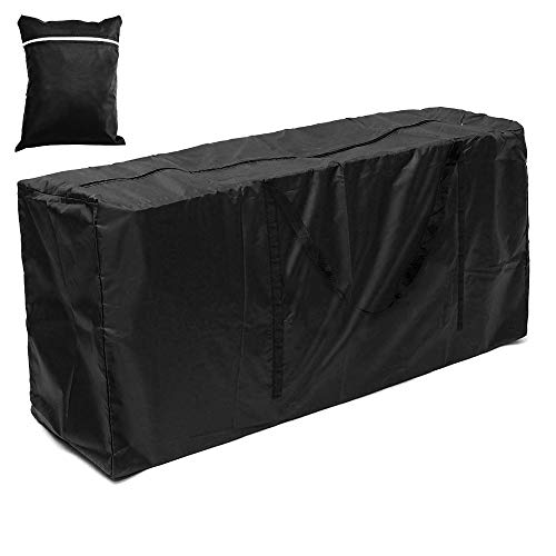 Garden Furniture Cushion Storage Bag Heavy Duty Waterproof 210D Oxford Fabric Rectangle Furniture Seat Protector Cushion Cover with Zipper Christmas Tree Storage Bag (Black,173x76x51)