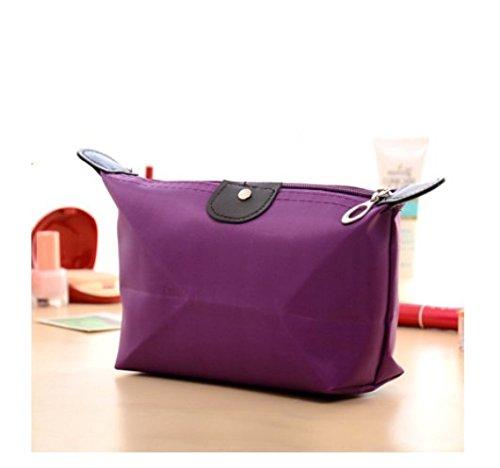 Domire Women Dumpling Shape Nylon Waterproof Zipper Cosmetic Makeup Bag Handbag ,Purple by Domire