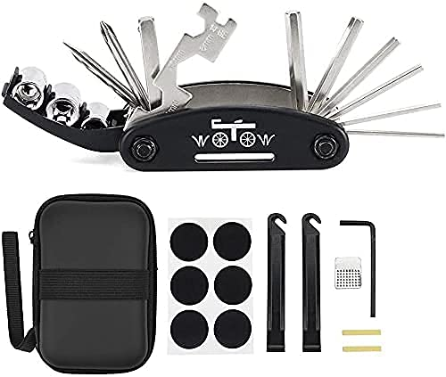 WOTOW 16-in-1-Multifunktions-Reparatursatz für die Fahrrad-Reparatur, Kit mit Innensechskantschlüsseln und 3 Stemmeisen (16 in 1 Werkzeug)