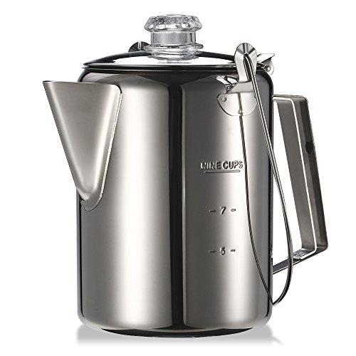 Festnight Camping Kaffeekanne mit Filter 1.2L 9 Tasse Edelstahl Perkolator Geeignet für Outdoor Camping Familie Küche