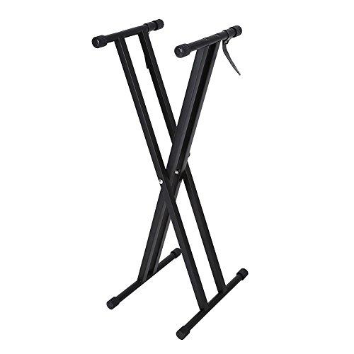 Soporte para teclado, soporte para piano, portátil, en forma de X, soporte para teclado doble, soporte de órgano eléctrico, altura ajustable