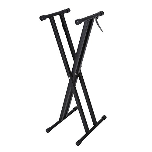 Walimex Frontal Keyboard Stand, X Style Soporte para Teclado, portátil Altura Ajustable Plegable Keyboard Stand Soporte Doble para Teclado (Negro)